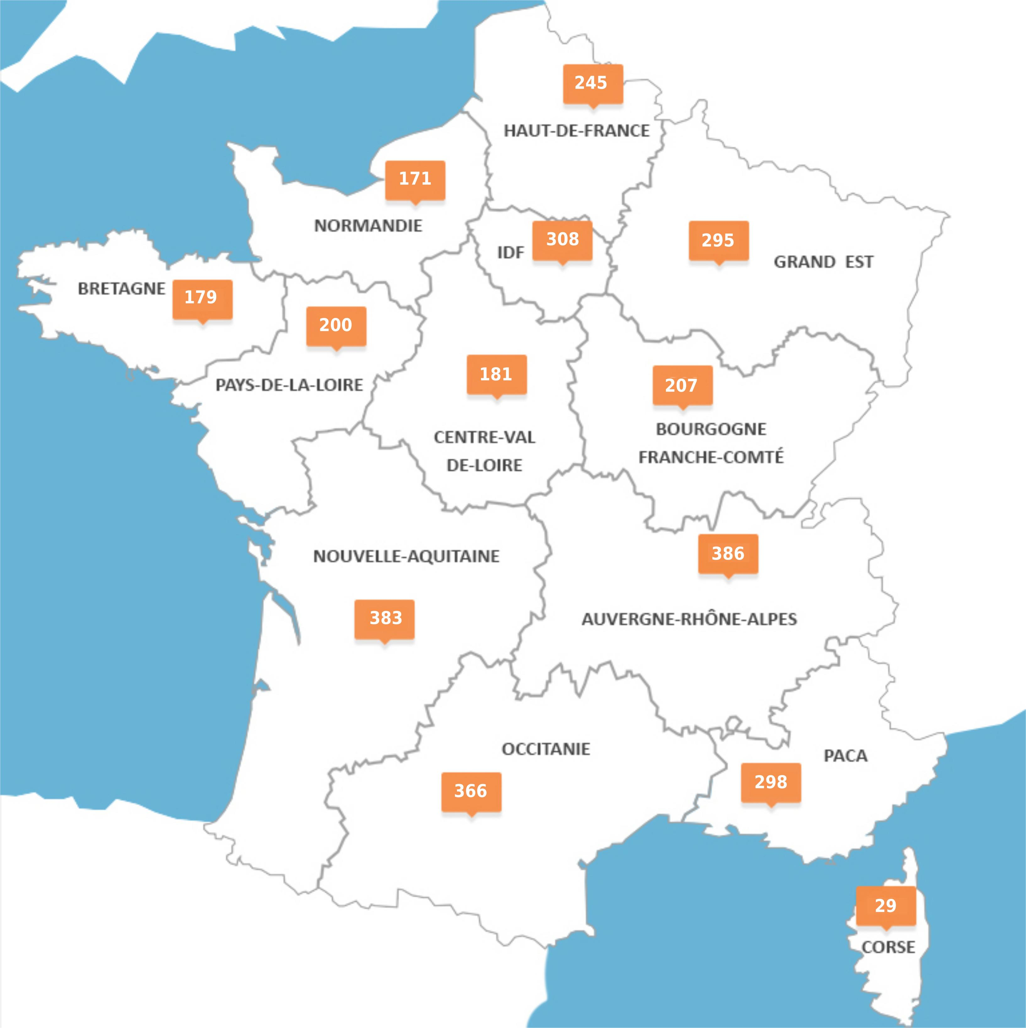 Number of fatalities in French mainland regions - 2018